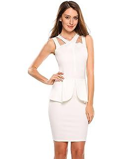 2315bb0b4e789f ANGVNS Women s Sleeveless Solid Bodycon Midi Or Mini Peplum Dress with  Square Neckline