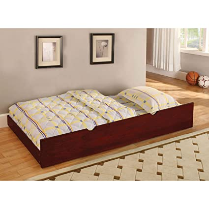 Amazon.com: Contemporary Twin Size Trundle Bed, Bedroom ...
