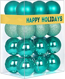 "GameXcel 24Pcs Christmas Balls Ornaments for Xmas Tree - Shatterproof Christmas Tree Decorations Perfect Hanging Ball Teal 1.6"" x 24 Pack"