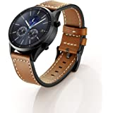 Aresh for Samsung Gear S3 Frontier Classic Accessory Watch Band,Genuine Leather Watch Band Replacement for Gear S3 Frontier Classic/Huawei Watch 2 Classic (Style 2 Brown)
