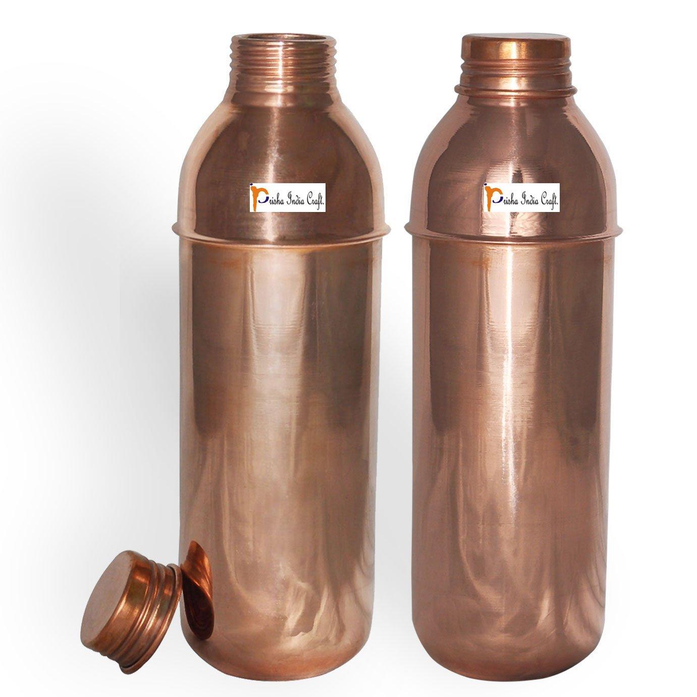 Prisha India Craft (Set of 2) Copper New Bislery Stylish Bottle with Ayurvedic benefited - 800 ML / 27 oz Thermos Bottles - 100% Genuine Copper Water Bottles
