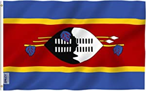 Anley Fly Breeze 3x5 Feet Eswatini (Swaziland) Flag - Vivid Color and Fade Proof - Canvas Header and Double Stitched - Swazi Flags Polyester with Brass Grommets 3 X 5 Ft
