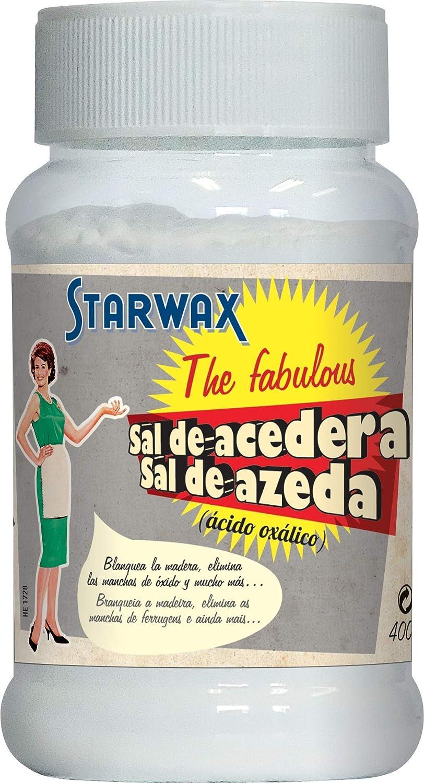 Starwax The Fabulous Sal de Acedera 400 g - Polvo de Ácido Oxálico Inodoro e Incoloro , Blanquea los Textiles, la Madera y el Cuero , Elimina el Óxido
