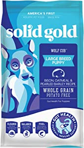 Solid Gold - Wolf Cub with Real Bison and Oatmeal - Natural Large Breed Puppy Food - Potato Free - DHA and Calcium Support - Dry Dog Food for Puppies