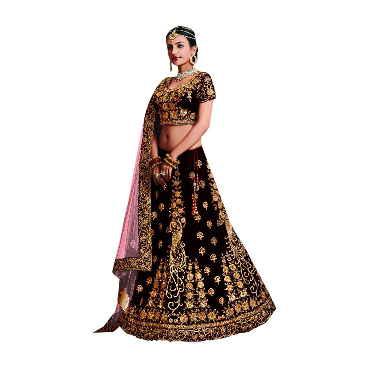 Designer Velvet Lehenga Choli Dupatta Dress Bollywood Indian Ethnic Wedding Women Muslim Bridal Embroidery Zari Work 645 (Wine & Pink) by ETHNIC EMPORIUM