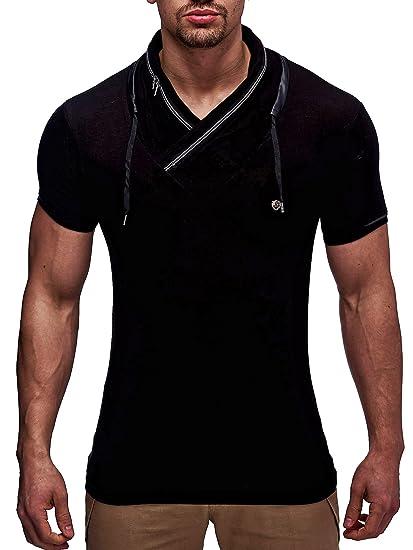 Leif Nelson Herren Sommer T Shirt Stehkragen Slim Fit Casual Baumwolle Anteil Cooles weißes schwarzes Männer Kurzarm T Shirt