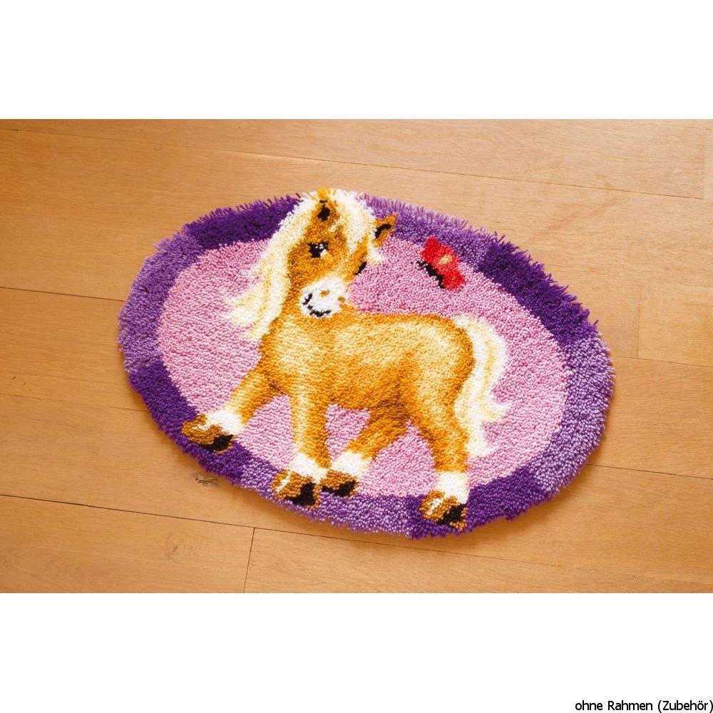 Vervaco PN-0144090 Formteppich Pony mit Schmetterling