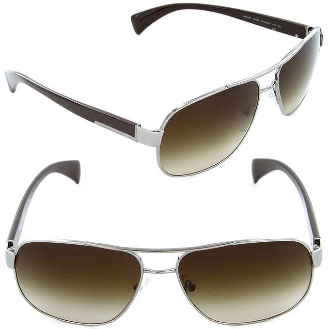 357e7afeaf Prada Sunglasses SPR 52P 5AV-6S1 Gunmetal   Brown Gradient Lens  Amazon.ca   Clothing   Accessories