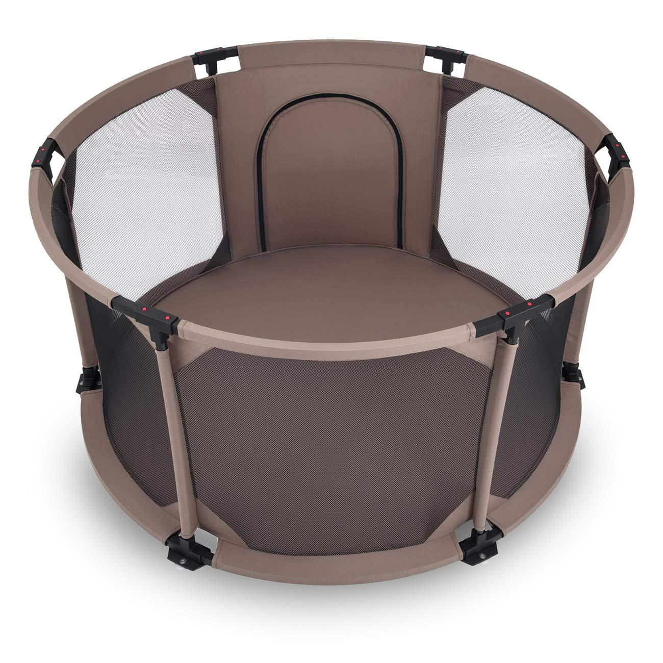 Rond Baby Vivo Parc B/éb/é Barri/ère S/écurit/é Portable Enfant Protection Porte Panel Espace Jeu Chambre Flexi Pliable en Brun Clair