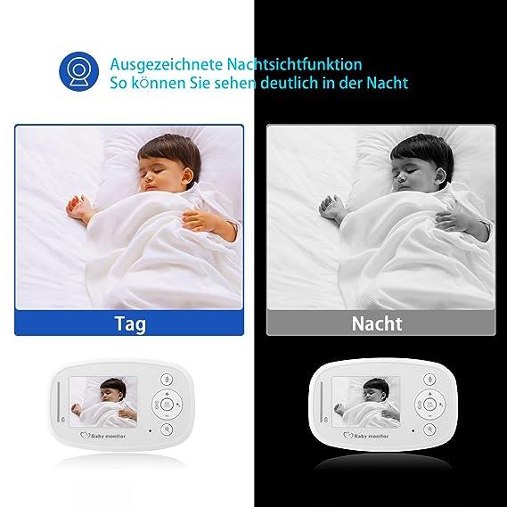 Eterno ojo bebé monitor 2,4 pulgadas Cámara digital inalámbrica de pantalla para la vigilancia de audio y vídeo (visión nocturna, función de interfono, ...