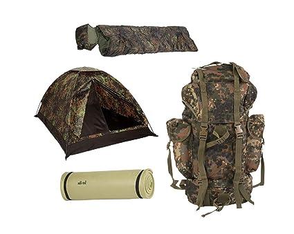 Vivac camping set tienda BW Mochila Isomatte Saco de dormir Set 4 Piezas camuflaje