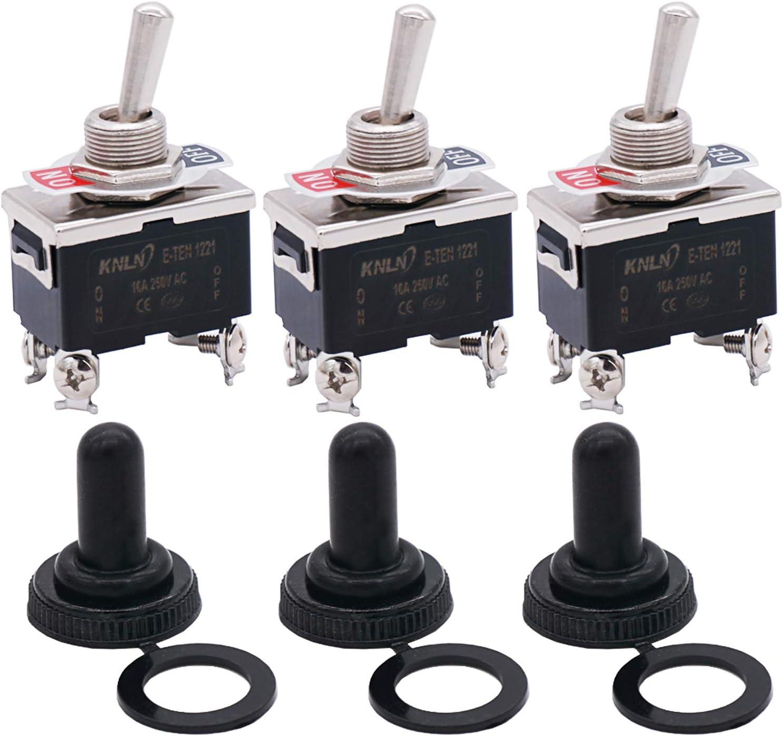 Twidec /3Pcs Heavy Duty Rocker Toggle Switch 20A 125V DPST 2 Position 4 Pin ON/OFF Switch with Metal Bat Waterproof Cap, 2 Years Warranty Ten-1221