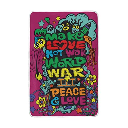 Amazon Com Xling Home Blanket Cute Peace Love Quote Cartoon