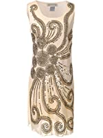 Anna-Kaci Womens Floral 1920s Flapper Beaded Sequin Sleeveless Mini Party Dress