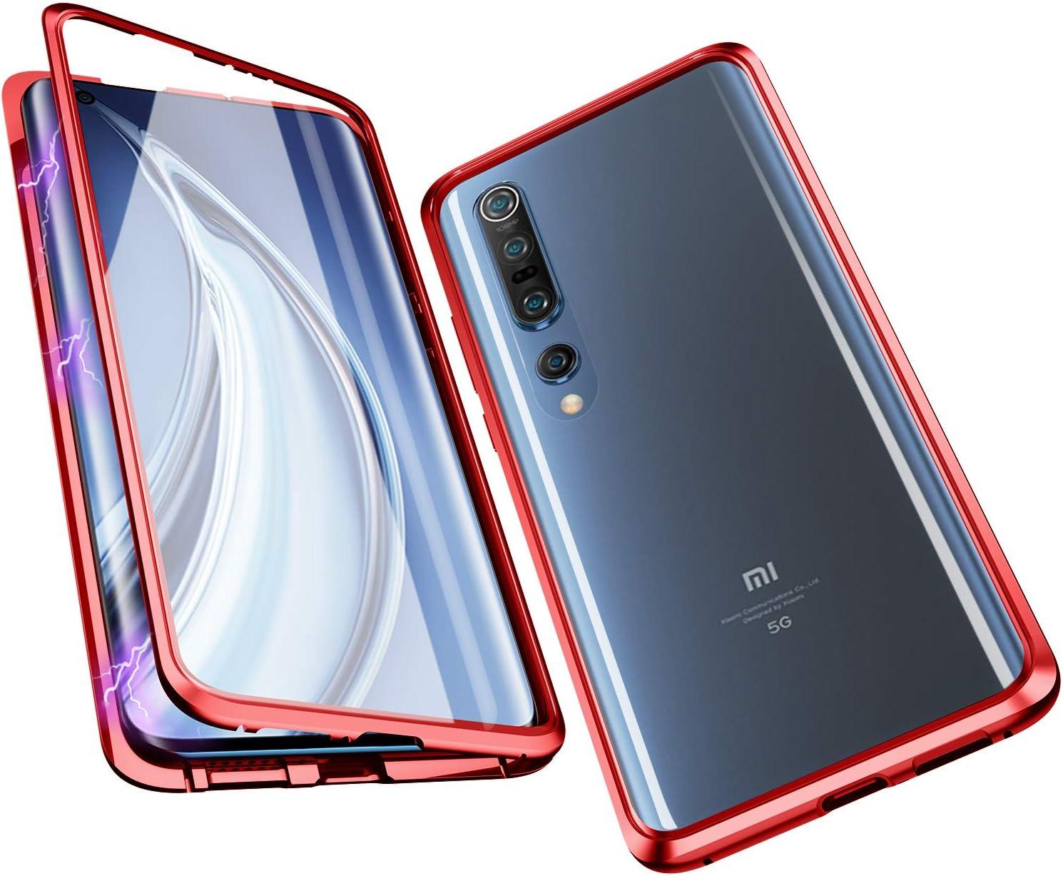 Plata Jonwelsy Funda para Xiaomi Mi 10//10 Pro Adsorci/ón Magn/ética Parachoques de Metal con 360 Grados Protecci/ón Case Cover Transparente Ambos Lados Vidrio Templado Cubierta para Xiaomi Mi 10