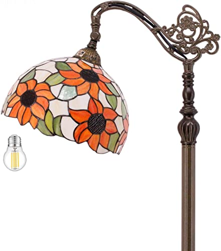 Tiffany Style Reading Floor Lamp LED Included Stained Glass 12 Inch Lampshade 64 Inch Tall Arched Base Antique Light