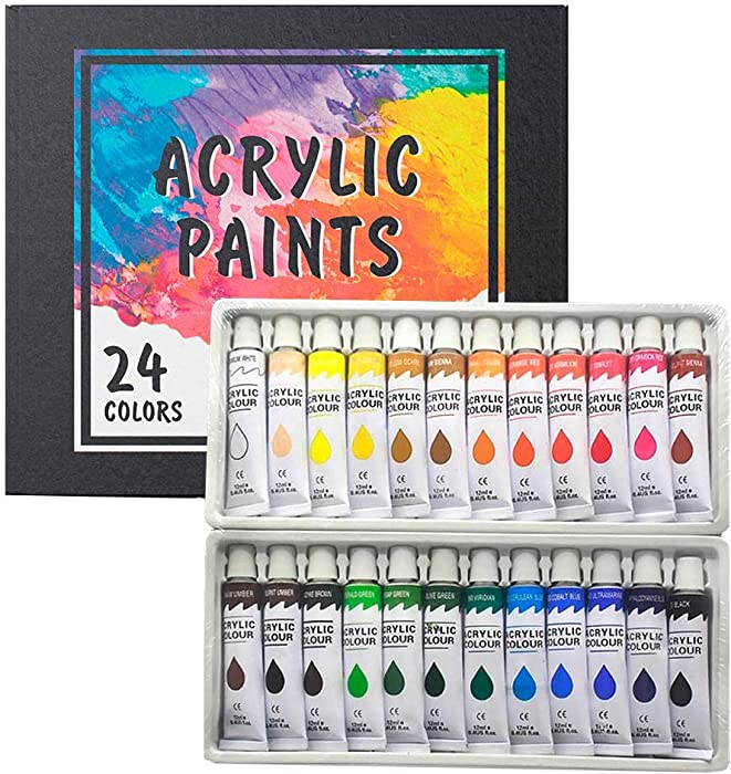 Acrylic Paint Set 24 Colors/Tubes(12ml, 0.4 oz) Non Toxic Non Fading,Rich Pigments for Painters, Adults & Kids, Ideal for Canvas Wood Clay Fabric Ceramic Craft Supplies