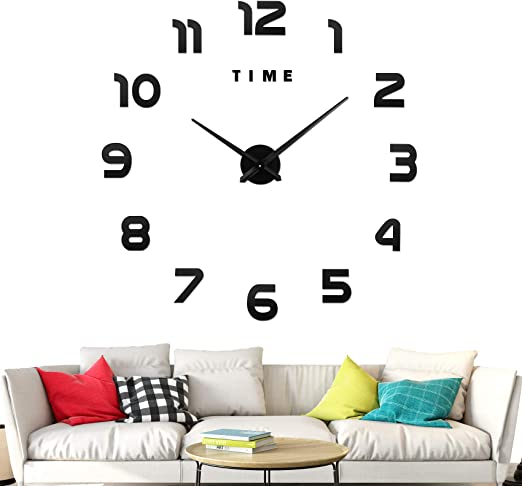 Amazon Com Large Frameless 3d Diy Wall Clock 3d Mirror Wall Clock Large Mute Wall Stickers For Living Room Bedroom Home Decorations Black Home Kitchen,Baby Closet Organizers Ideas