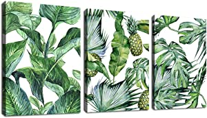 "Green Leaf Wall Art Tropical Plants Contemporary Canvas Pictures Monstera Pineapple Modern Artwork Framed for Bathroom Bedroom Nursery Living Room Home Office Kitchen Wall Decor 12"" x 16"" 3 Pieces"
