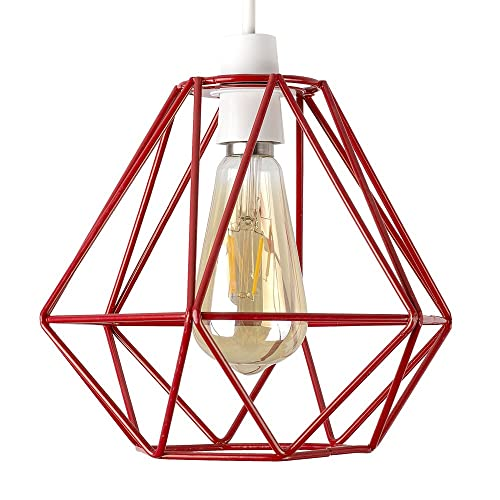Retro Style Red Metal Basket Cage Ceiling Pendant Light