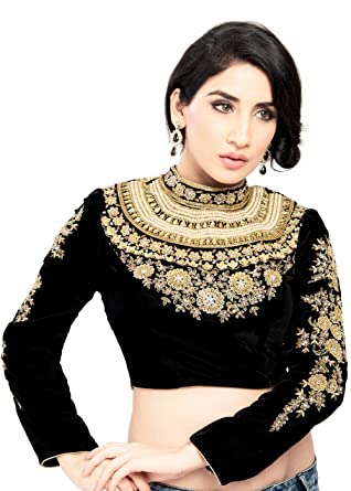 7b54f99aacf21 Amazon.com  Maharana Full Sleeve Black Velvet Saree Blouse Sari Choli Crop  Top - KP-72  Clothing