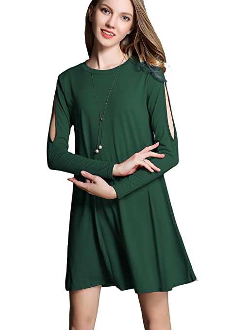 Women's Casual Cold Shoulder Off Long Sleeve Cotton Tshirt