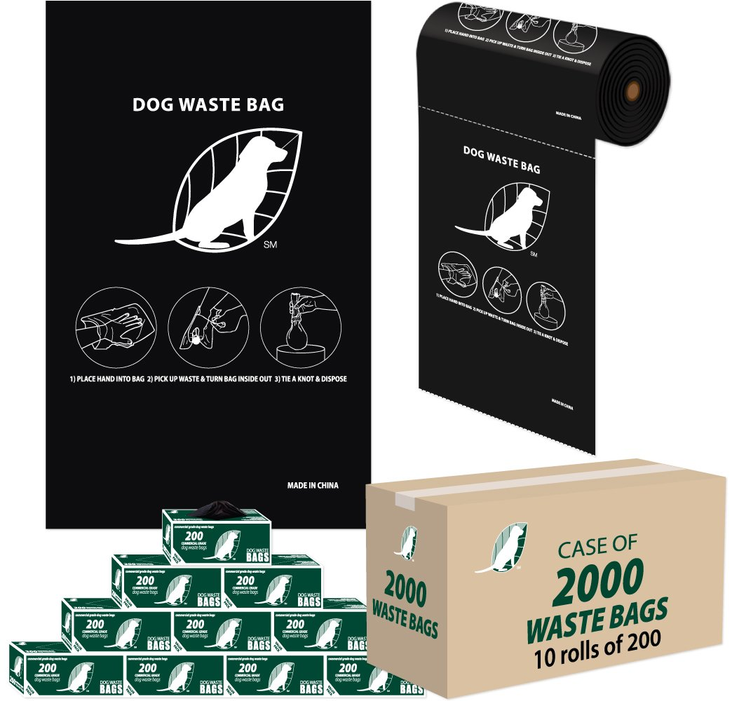 Dog Waste Bags - 3 cents a Bag - (10 rolls / 200 per roll = 2,000 ROLL BAGS) by American Dog Waste Products