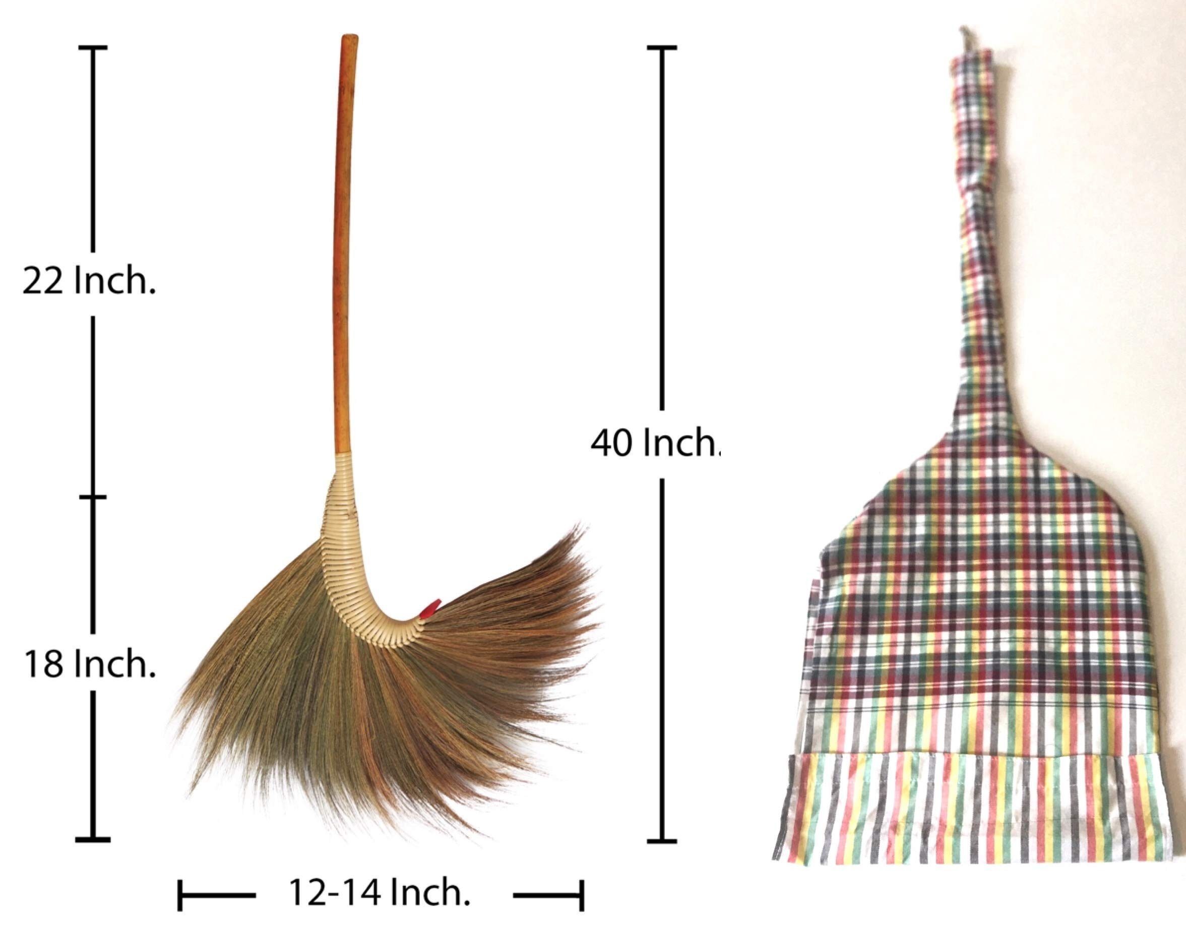Natural Grass Broom 100% Handmade with a Bamboo Broomstick Handle and Nylon Hand Grip - Thai Broom for Indoor Outdoor Use - Soft, Large, Wide, Vintage and Decorative Natural Asian Broom by KalokeKala