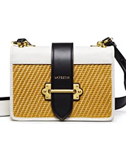 eed8c279a473 LA FESTIN Women s Cross Shoulder Bags Small Leather Woven Side Purses for  Ladies