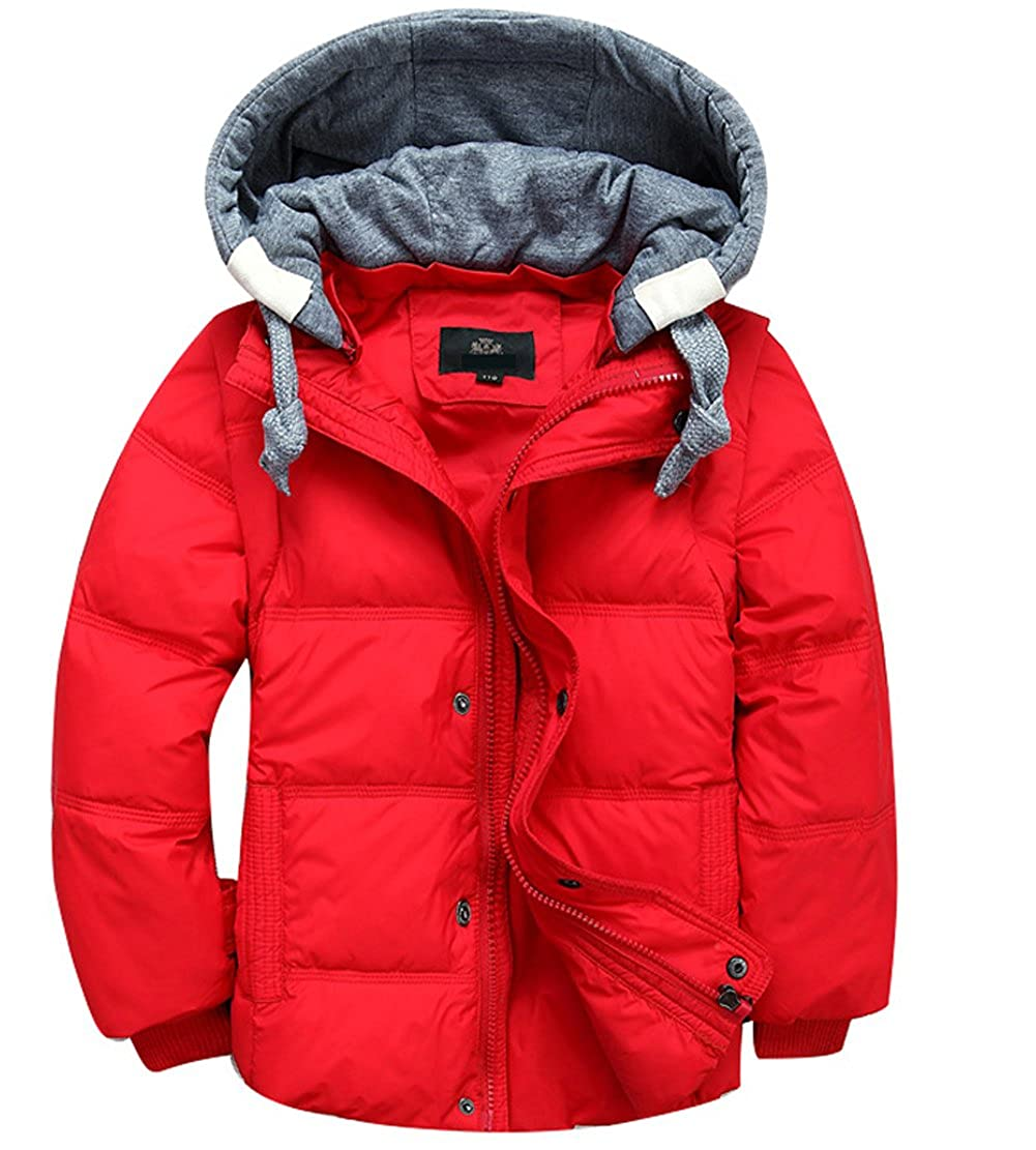 Boys' Winter Parka Down Coat Puffer Padded Jacket With Removable Hood