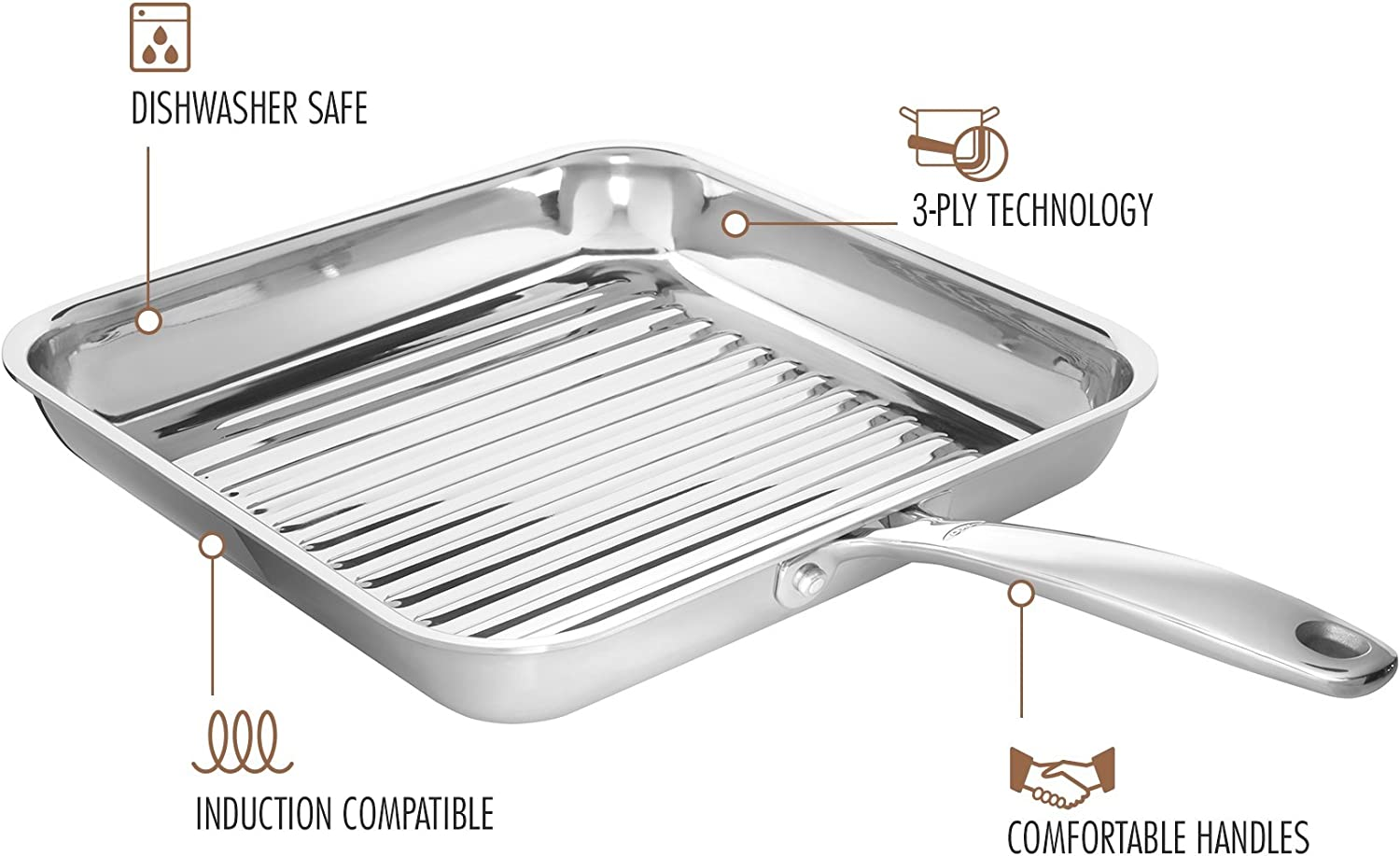 OXO Good Grips Tri-Ply Stainless Steel Pro 11 Square Grillpan