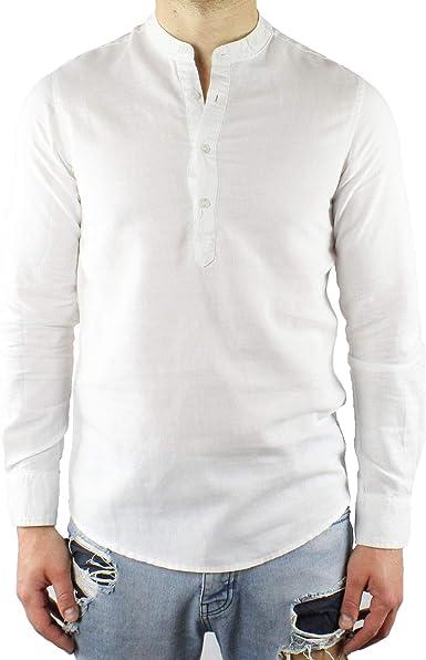 Camisa de Hombre Coreana Lino Slim Fit Serafino Blanca de Manga Larga de Verano sastral Casual Playa Cuello Coreano M L XL XXL XXXL Bianco S: Amazon.es: Ropa y accesorios
