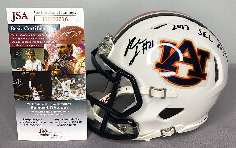 Kerryon Johnson SIGNED Auburn Tigers Football Mini Helmet w//COA ~ SEC POY JSA Certified Autographed College Mini Helmets