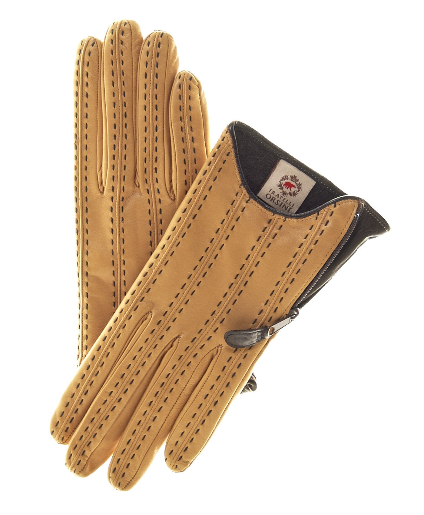 Fratelli Orsini Women's Italian Cashmere Lined Leather Gloves with Side Zipper Size 7 1/2 Color Camel