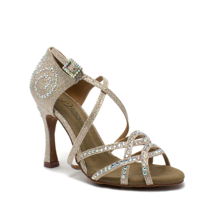 Dancine ''Aurora Professional Latin Dance Shoes, Light Gold, 4 inches/10cm Heel, Salsa Bachata Tango Wedding Ballroom Dance Sandals(5.5 B(M) US)