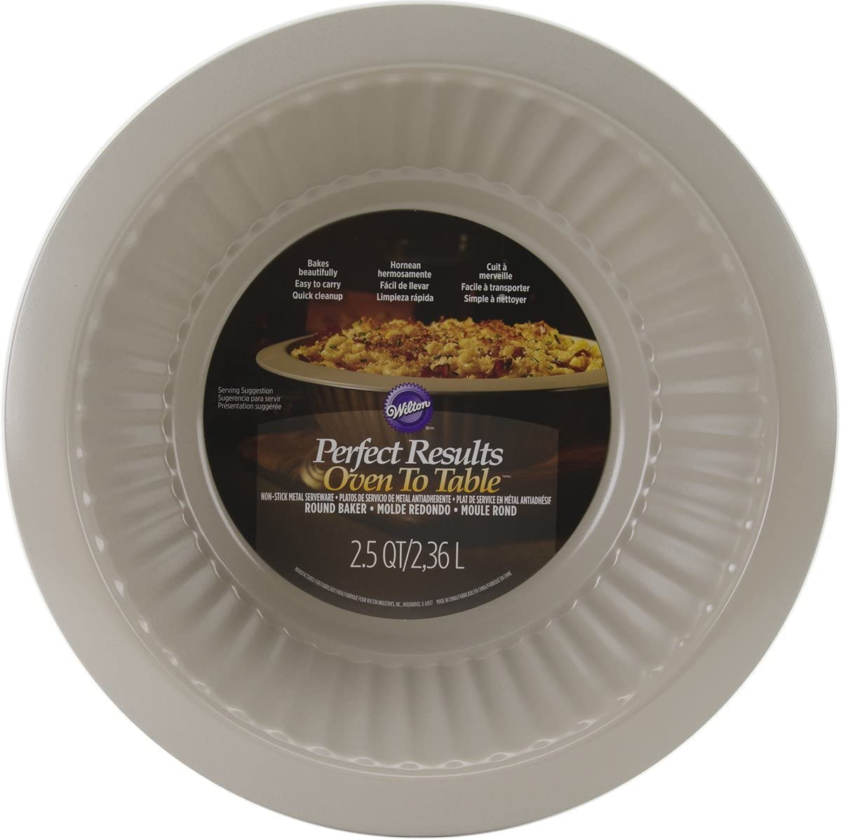 Wilton Perfect Results Oven to Table Round Casserole Dish, 2.5-Quart/Large