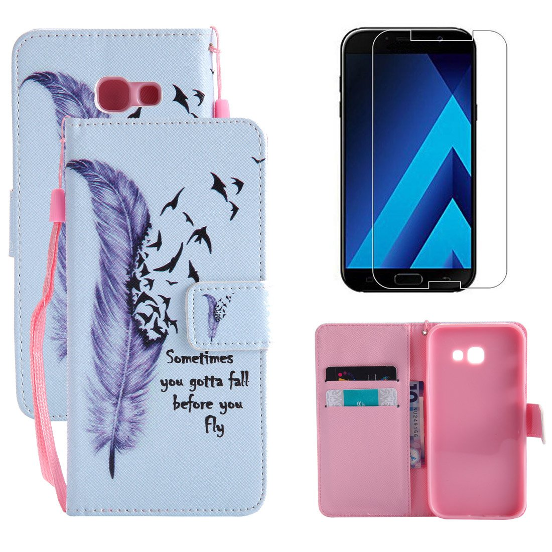 Wallet Case for Samsung Galaxy A5 2017 and Screen Protector,OYIME Elegant Colorful Painted Cute Cat Pattern Full Body Protection Flip Bookstyle Design Leather Cover with Wrist Lanyard Strap Holster Kickstand Card Slots Magnetic Closure Function