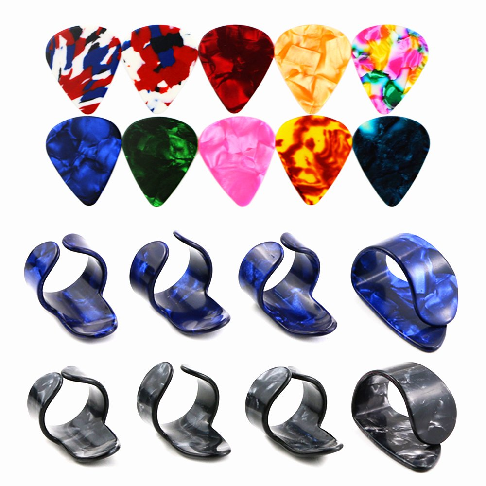 Bignc 2 Pairs Guitar right hand finger for Fingerstyle Acoustic Guitar, Banjo or Ukulele (With 10 Pcs Guitar Picks )