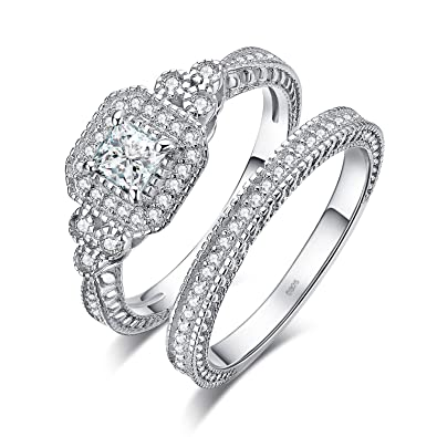 64c29a6c4aa475 JewelryPalace Vintage Wedding Rings Wedding Bands Halo Solitaire Engagement  Rings For Women Anniversary Promise Ring Bridal Sets Princess Cubic  Zirconia 925 ...