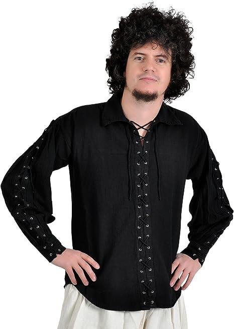 La edad media camisa - camisa atada con mangas de piratas, colour negro de algodón para la edad media, juegos de rol, de Vikingo: Amazon.es: Deportes y aire libre