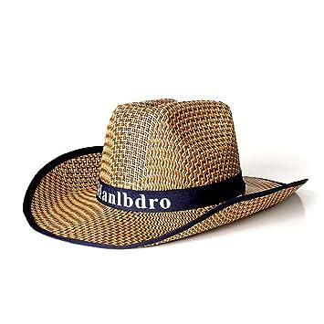 M-Egal Mens Wide Brim UV Sun Protection Straw Hat Breathable Floppy Summer Beach  Hat deep blue 58cm 116482b0eda