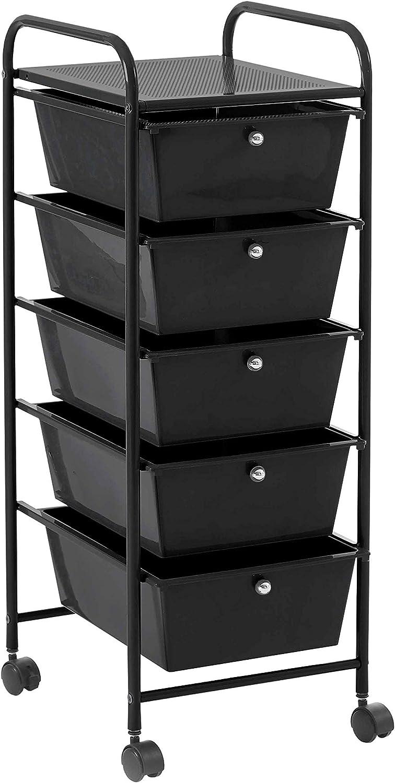 Urban Shop 5 Drawer Rolling Storage Cart, Black