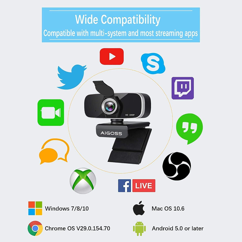 Schwarz Aigoss Webcam 1080P HD mit Mikrofon und Datenschutz Verschluss 360/° Drehbarer PC Mac USB-Videokamera f/ür Online-Unterricht//Konferenzen