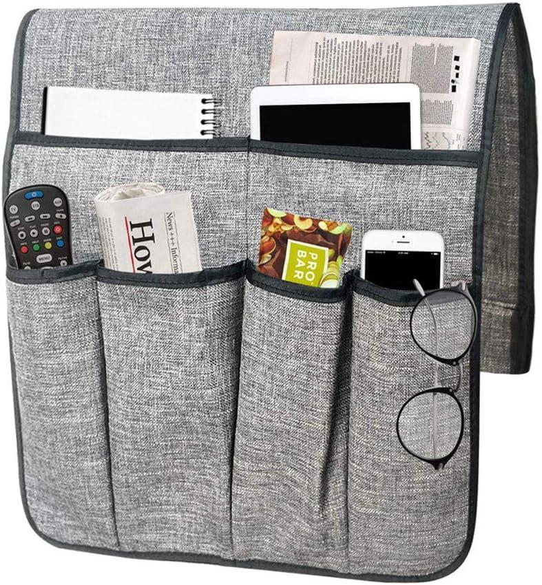 B/ücher Zeitschriften 5 Taschen Aufbewahrungstasche f/ür Fernbedienung Snacks Beige Handy Notizblock Tablet Brillen IPENNY Armlehne-Organizer f/ür Sofa oder Bett Trinker DVD