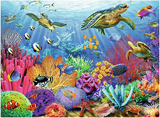 Full Drill 5D Diamond Painting Marine Fish Cross Stitch Kits Embroidery Decors