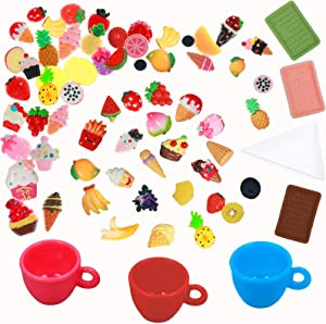 OBANGONG Miniature Foods Resin Ice Cream,Mini Fruits Mixed Decoration Sets for Adults Kids Doll House Pretend Kitchen Tableware Play Food Toys DIY Birthday Party Present,Style Random