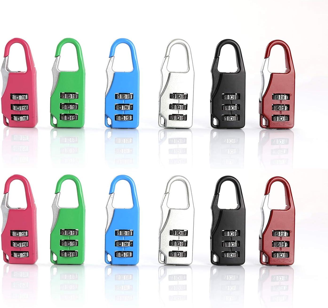 5 x Cadenas /à Combinaison Noir DazSpirit 3 Digit Combinaison Cadenas de S/écurit/é Luggage Locks pour valises de Voyage Bag Lockers Case Gym Backpack Rouge et Argent Rose Bleu
