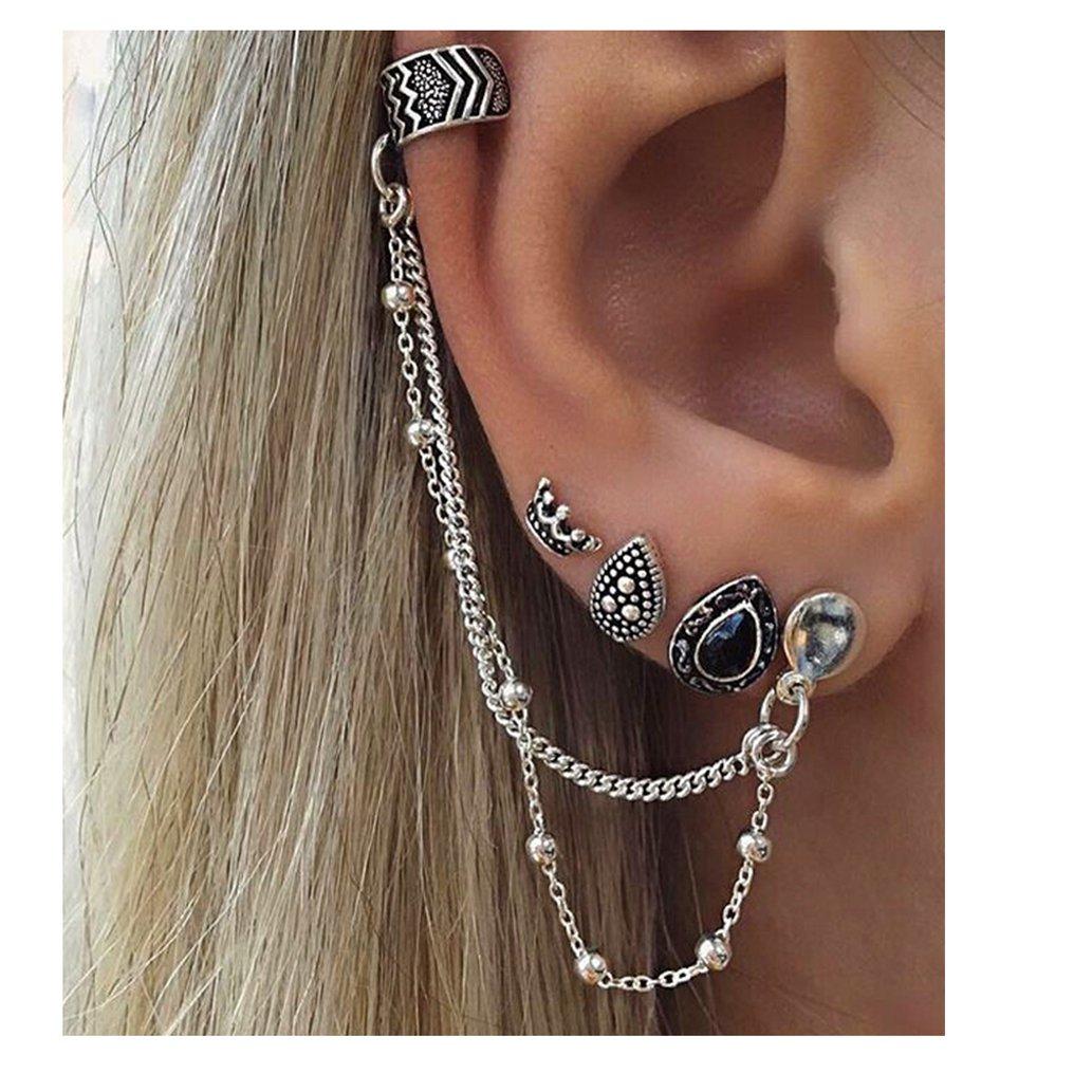 KISSFRIDAY Silvery Crown Long Dangle Chain Tassel Ear Cuffs Ear Vine Wrap Pins Ear Bone Stud Clip Earrings