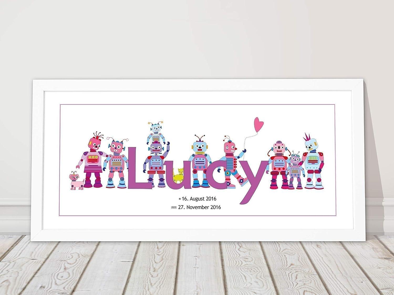 Personalisiertes Bild Wunschname Kinderzimmer gerahmt Geschenk ...