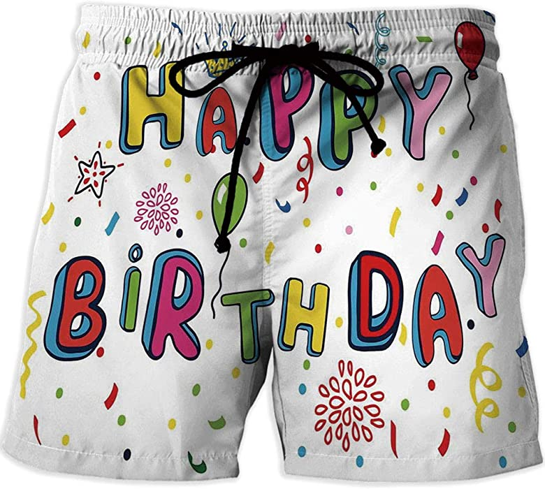 MOOCOM Mens Lightweight Workout Running Birthday Decorations Printed Quick Drying Sw